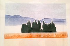 Paesaggio con cipresso / landscape with Cypres - stampe monotipo , inchiostro su carta - monotype print - ink on paper 25 x 29 cm. serie 1,2 Euro 400